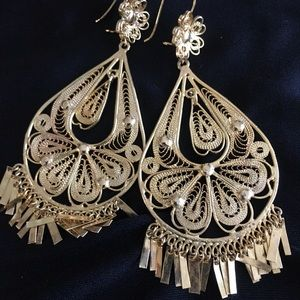 Large Mexican Filigree Gold Dangle Earrings